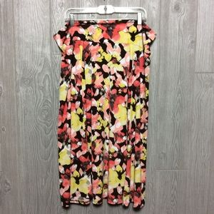 Brown and Yellow Floral Stretch Skirt